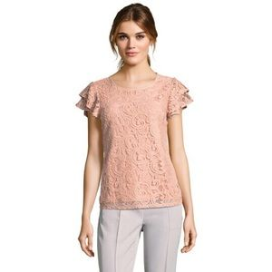 Adrianna Papell Lace Top with Ruffled Sleeves XL.